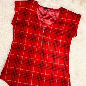 Red Plaid Pattern Blouse